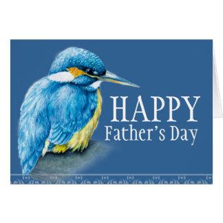 Blue bird fine art kingfisher Father's Day card