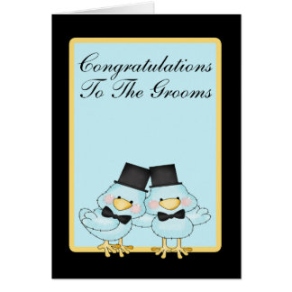 Blue Bird Grooms Wedding Greeting Card
