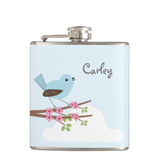 Blue Bird in Blossom Tree Hip Flask
