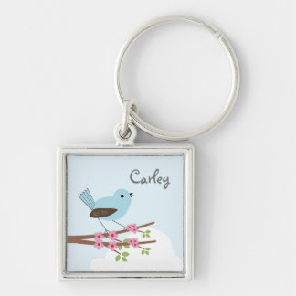 Blue Bird in Blossom Tree Silver-Colored Square Key Ring
