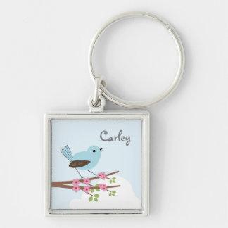 Blue Bird in Blossom Tree Key Ring