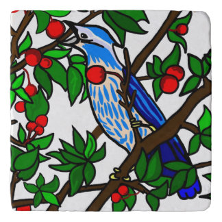 Blue Bird In Cherry Tree Trivet