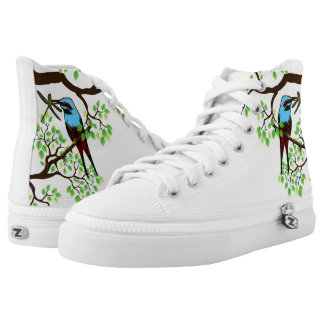 Blue Bird in Trees High Tops