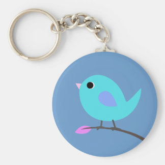 Blue Bird Keyring Basic Round Button Key Ring