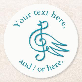 Blue bird music round paper coaster
