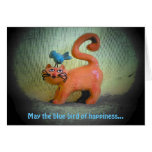 blue bird of happiness all nine lives greeting card