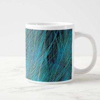Blue Bird Of Paradise Feathers Large Coffee Mug