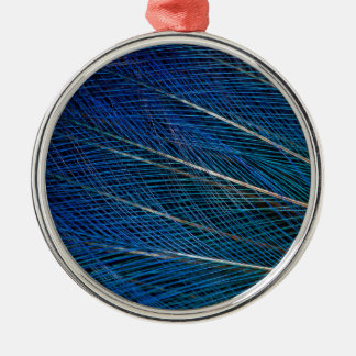 Blue Bird of Paradise feathers Silver-Colored Round Decoration