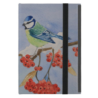 Blue bird on a rowan tree branch cases for iPad mini