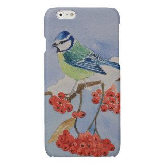Blue bird on a rowan tree branch iPhone 6 plus case