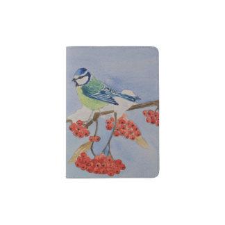 Blue bird on a rowan tree branch passport holder