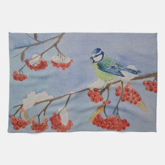Blue bird on a rowan tree branch tea towel