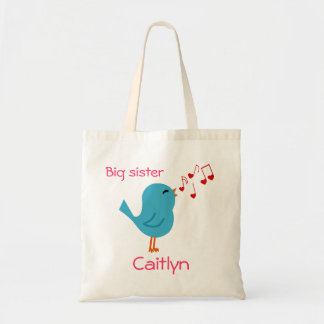Blue Bird Personalized Big Sister Tote Tote Bags
