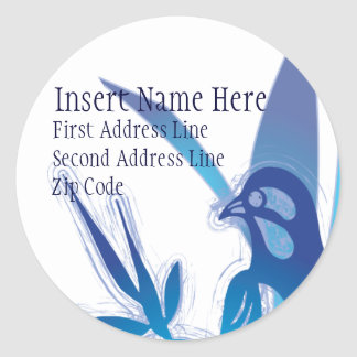 Blue Bird Return Address Round Sticker