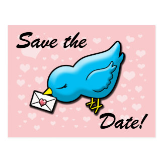 Blue bird save the date postcard