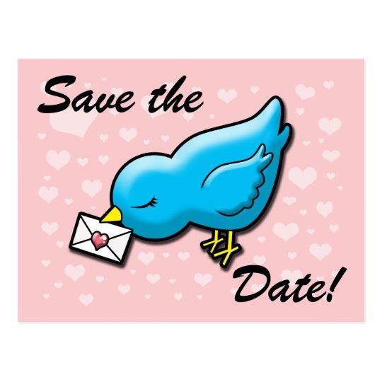 Blue bird save the date postcard