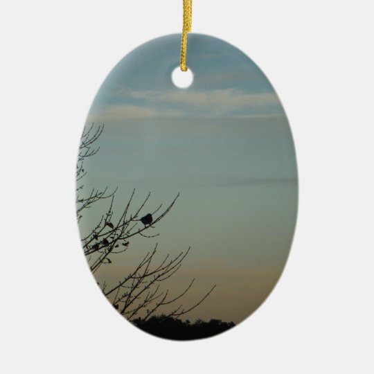 Blue Bird silhouette Powder Blue Sky Christmas Ornament