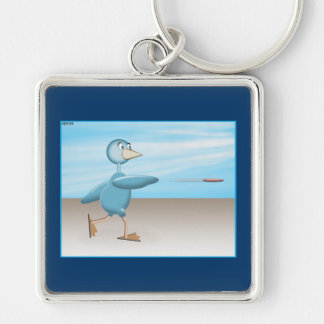 Blue Bird Silver-Colored Square Key Ring
