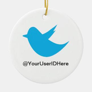 Blue Bird Social Media Double-Sided Ceramic Round Christmas Ornament