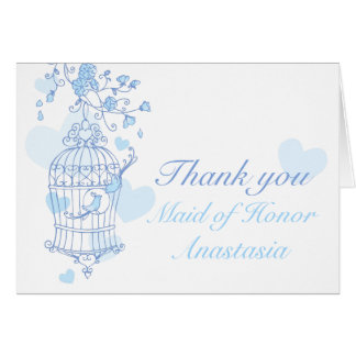Blue bird wedding Maid of honor thank you card