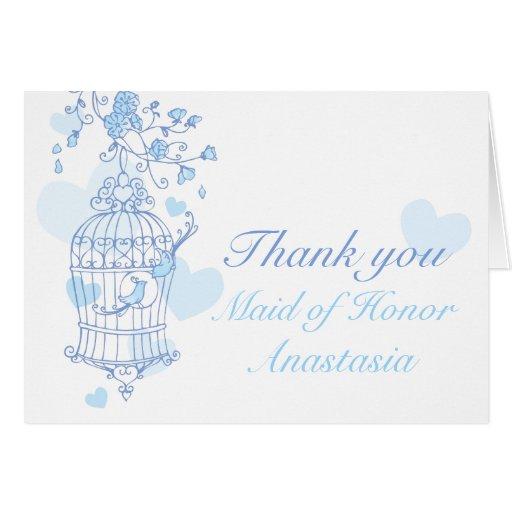 Blue bird wedding Maid of honor thank you card