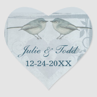 Blue Bird Wedding Save The Date Heart Sticker