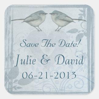 Blue Bird Wedding Save The Date Square Sticker