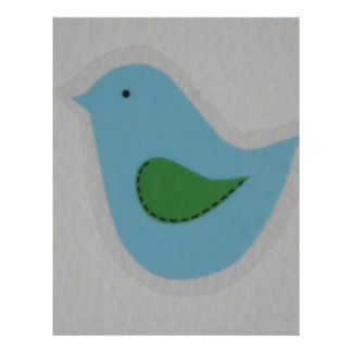 blue bird with green wing 21.5 cm x 28 cm flyer