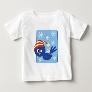 Blue bird with snowflakes t shirt