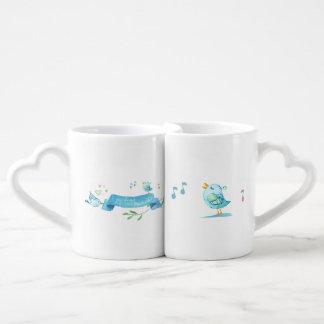 Blue Birdie Friends Sharing Joy and Song Coffee Mug Set