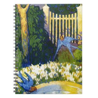 Blue Birds and the Bird Bath Spiral Note Book