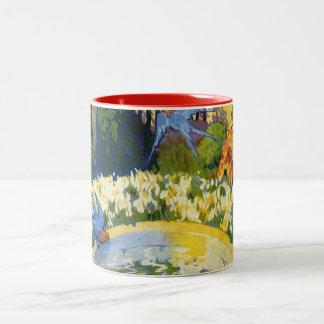 Blue Birds and the Bird Bath Two-Tone Mug