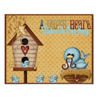 Blue Birds Birdhouse Chicks Nest Happy Heart Poster