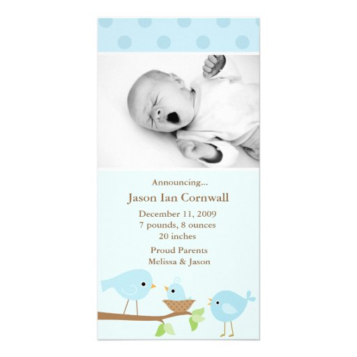 Blue Birds Birth Announcement Personalized Photo Card