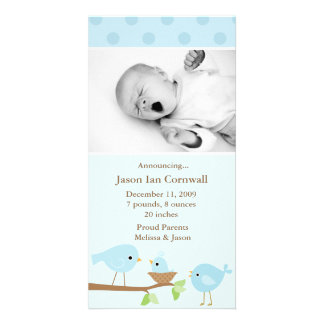 Blue Birds Birth Announcement Photo Card Template