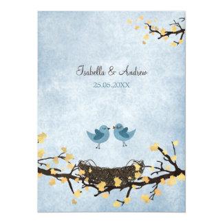 Blue birds in love 14 cm x 19 cm invitation card
