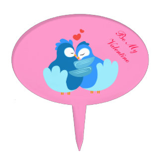 blue birds in love. be my valentine cake toppers