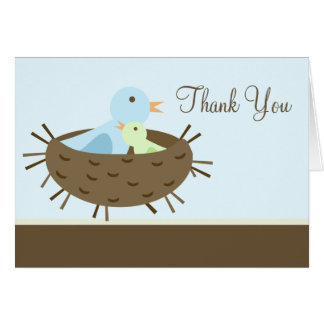 Blue Birds in Nest Baby Shower Thank You Cards