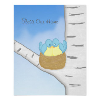 Blue Birds in Nest Canvas Posters
