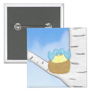 Blue Birds in Nest Magnet 15 Cm Square Badge