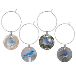 Blue Birds In The Snow Wine Charm
