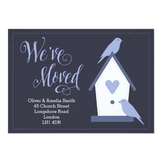 Blue Birds Moving House Announcement Card