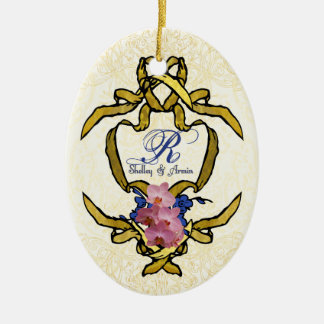 Blue Birds of Happiness Double-Sided Oval Ceramic Christmas Ornament