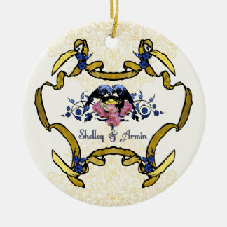 Blue Birds of Happiness Double-Sided Ceramic Round Christmas Ornament