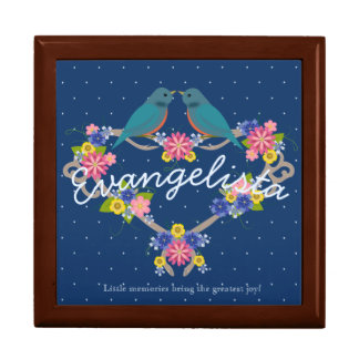 Blue Birds on Flower Heart Wreath Keepsake Box