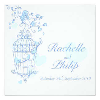 Blue birds open cage square wedding invitation