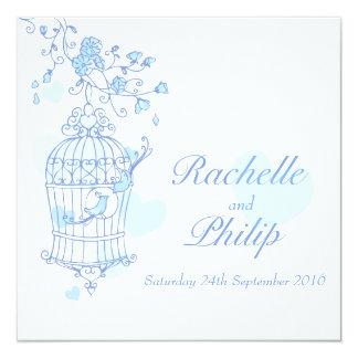 """Blue birds open cage square wedding invitation 5.25"""" square invitation card"""