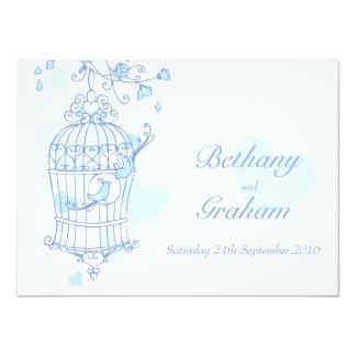 blue birds open cage wedding invitation