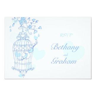 Blue birds open cage wedding reply card RSVP 13 Cm X 18 Cm Invitation Card