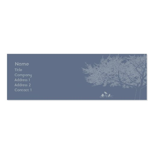 Blue Birds - Skinny Double-Sided Mini Business Cards (Pack Of 20)